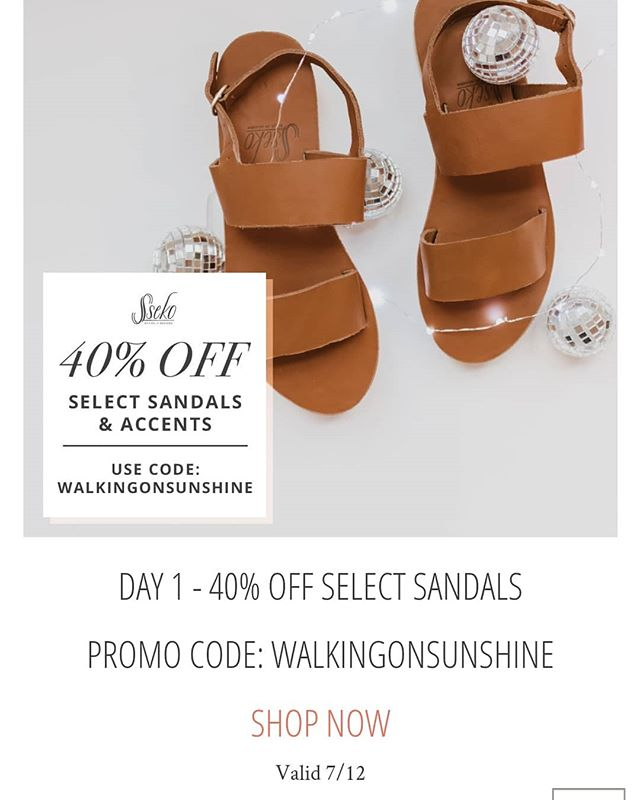 Today only! 7/12 😍 Sseko's annual birthday sale IS HERE! They're celebrating with seven days of flash sales. [LINK IN BIO] for today's deal! Today only, Rues, T-Straps, Double Strap Platform AND Wrap Sandals are 40% off! This one is too good to pass up. Promo Code: WALKINGONSUNSHINE . . #sseko #ssekostyle #ssekodesigns #ssekofellow #ssekosandals #ssekofellows #ssekos #fairtrade #handmade #ethicalfashion #fashionforgood #shopforgood #ethicalliving #giveback #ethical #ethicallysourced #downtownmckinney #fairforall #livelifefair #fairher #fairtuesday #chooseartisan #givebetternotmore