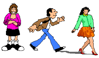 a cartoon of a businessman with a receding hairline walking swiftly past an average-looking woman his own age to chase after a younger skirt
