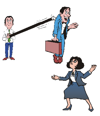 a cartoon of a man on a stick being dangled in front of her by a woman's ex.