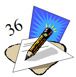 a line drawing of a pencil writing a letter as the number 36 floats above it.