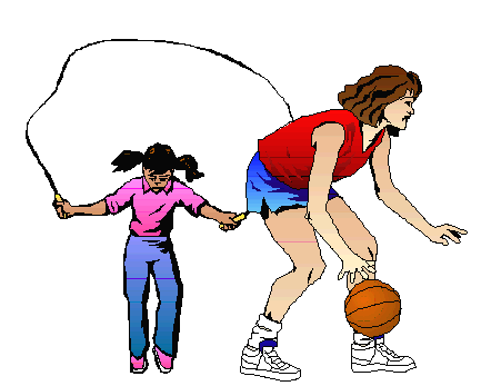a color drawing of one girl skipping rope as another girl dribbles a basketball