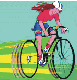 a drawing of a smiling, helmeted young woman riding a multigeared bicycle