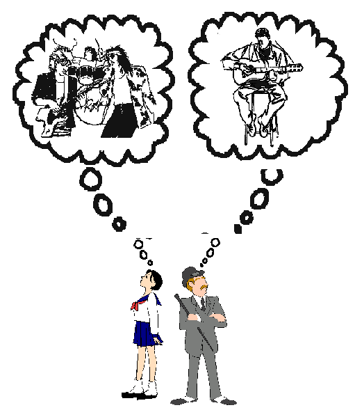 a cartoon of a schoolgirl standing back-to-back with her conservative-looking father, each dreaming of their preferred kind of music