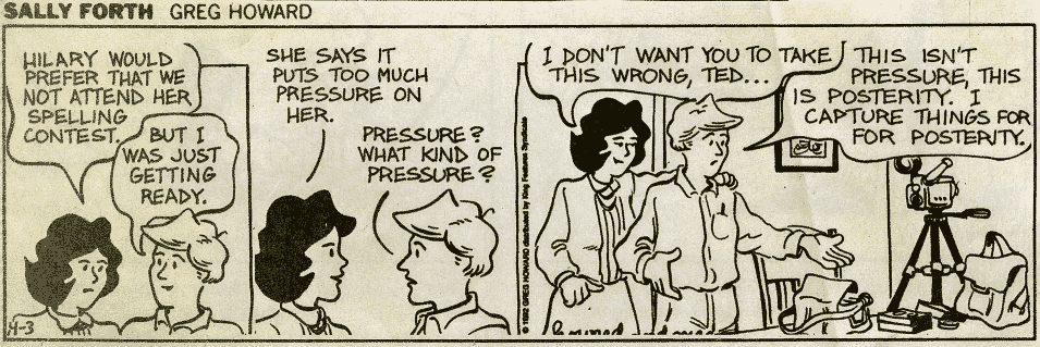 a Sally forth cartoon about a father who photgraphs everything for posterity