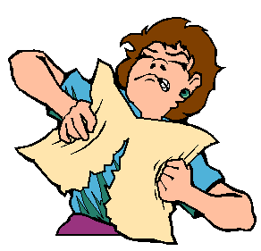 cartoon of a woman shredding a paper in frustration