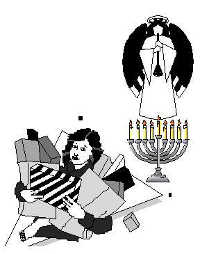a line drawing of a Jewish woman juggling grocery bags with a menorah in the background