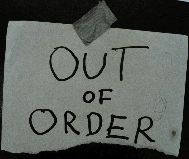 """out of order"" handmade sign"