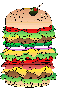 a cartoon image of a foot-high burger with all the trimmings