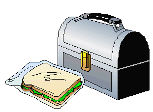 a sandwich beside an metal lunchpail