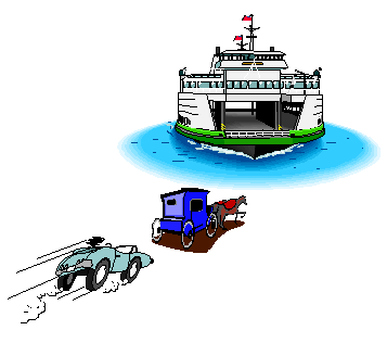 a cartoon of a roadster driver stuck behind a horse and busgge while heading to the ferry