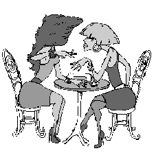 cartoon of two Jewish women in short skirts chatting over a meal