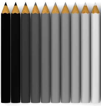 pencils in shades of grey