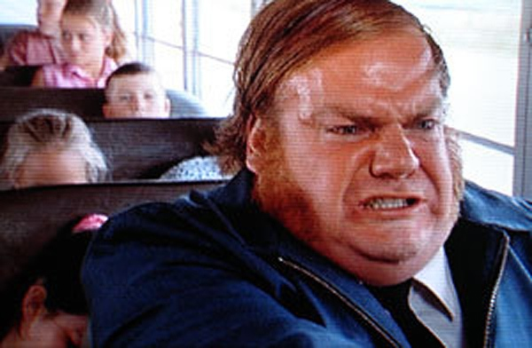 Chris Farley as the angry bus driver in  Billy Madison  (1995)