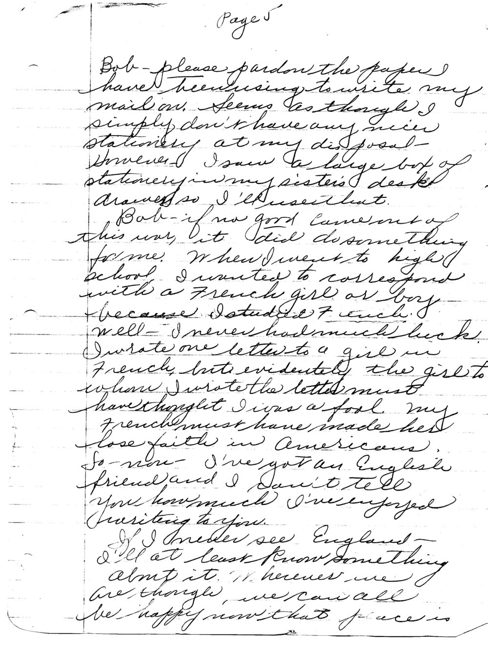 Ruth to Bob, Letter 5, December 20, 1945, page 5 of 6