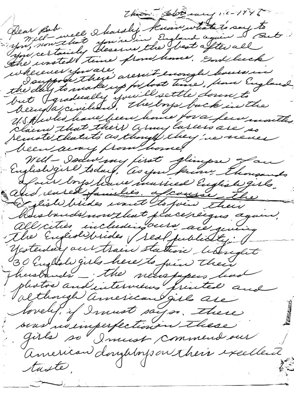 Ruth to Bob, Letter 6, February 1946, page 1 of 5