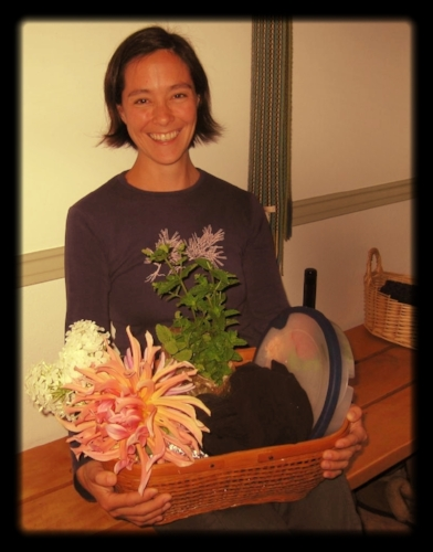 Celebrating my birthday with my lunch basket and flowers from the garden