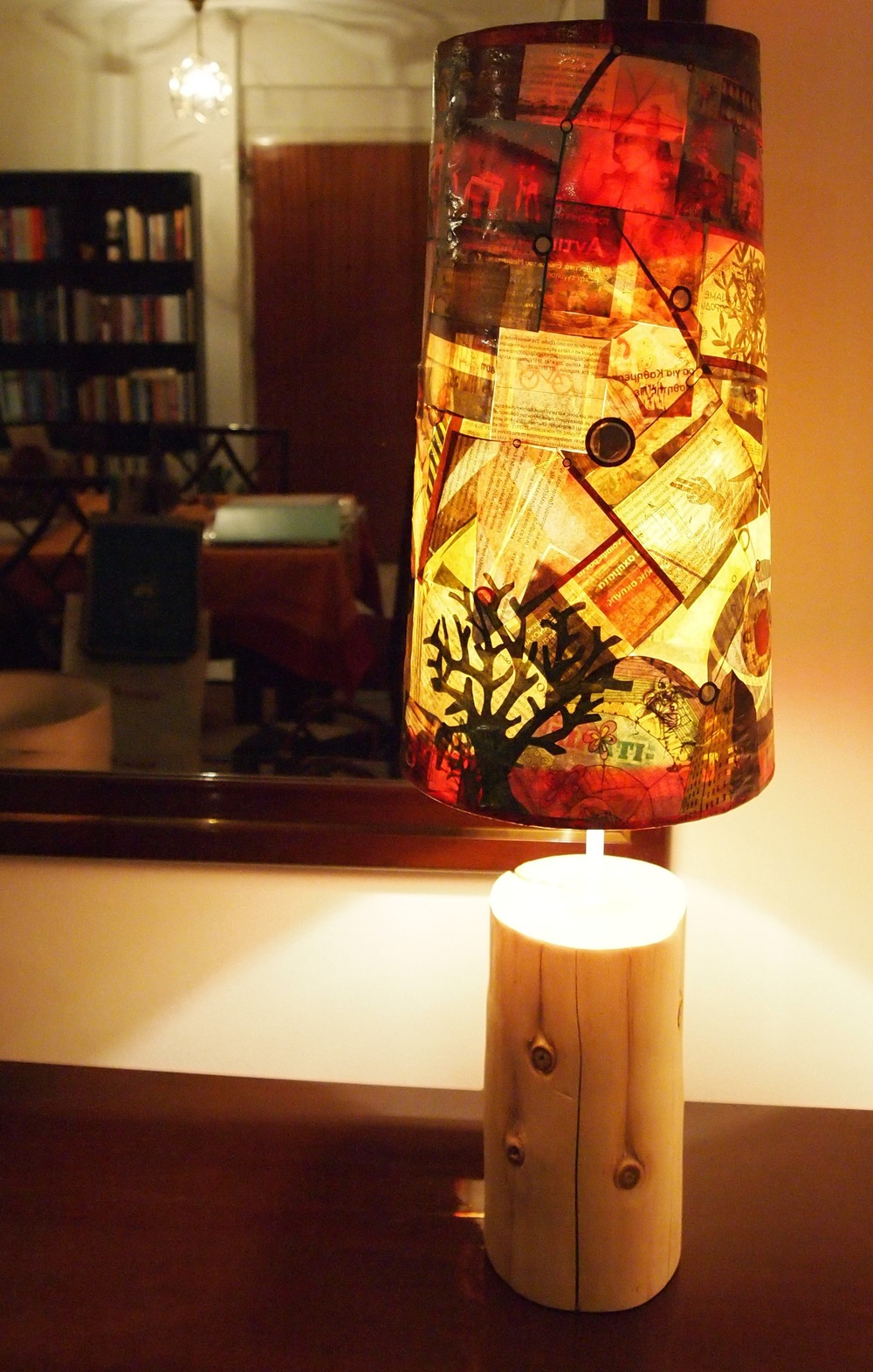 Free press collage lamp