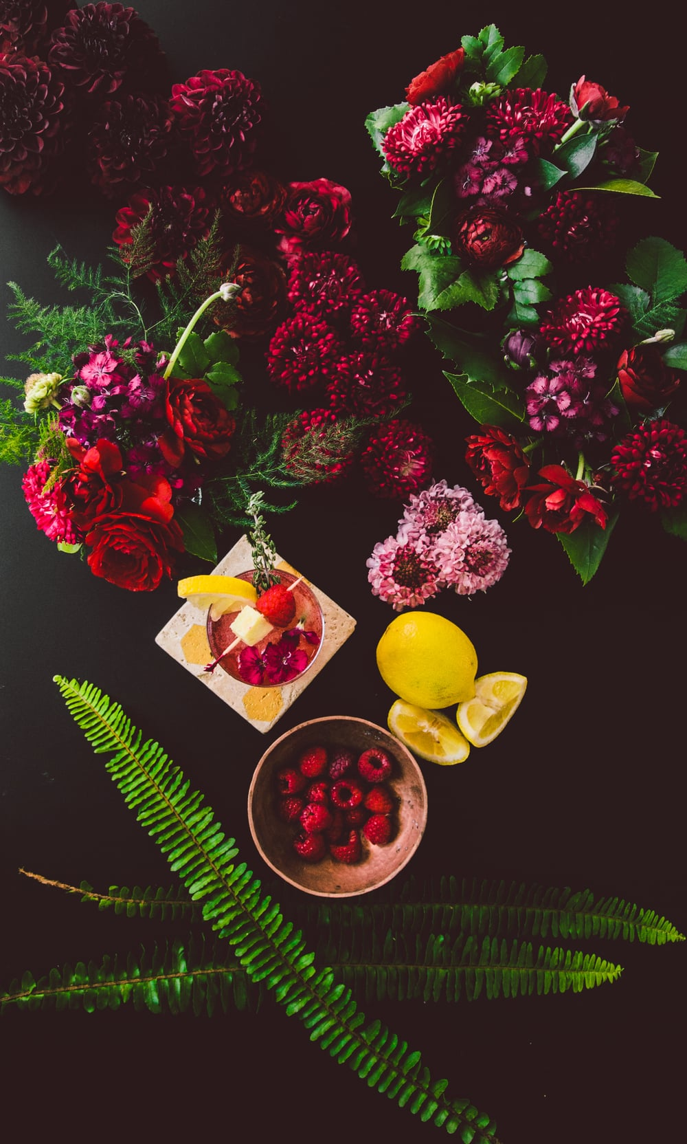 Raspberry-Ginger Spritzer    Recipe & Styling by  Dani Colombatto   Florals by  Tulip
