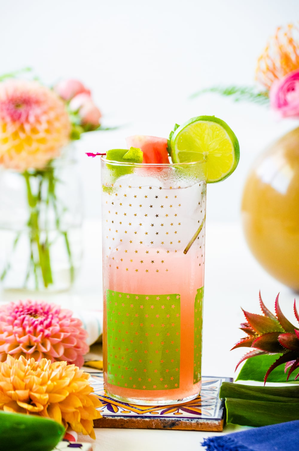 Watermelon Jalapeño Vodka Spritzer    Recipe & Styling by  Dani Colombatto    Florals by  Tulip