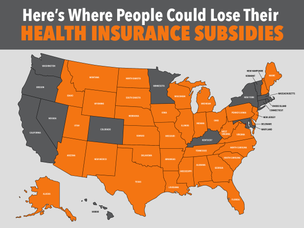 The states in orange could lose federal subsidies.