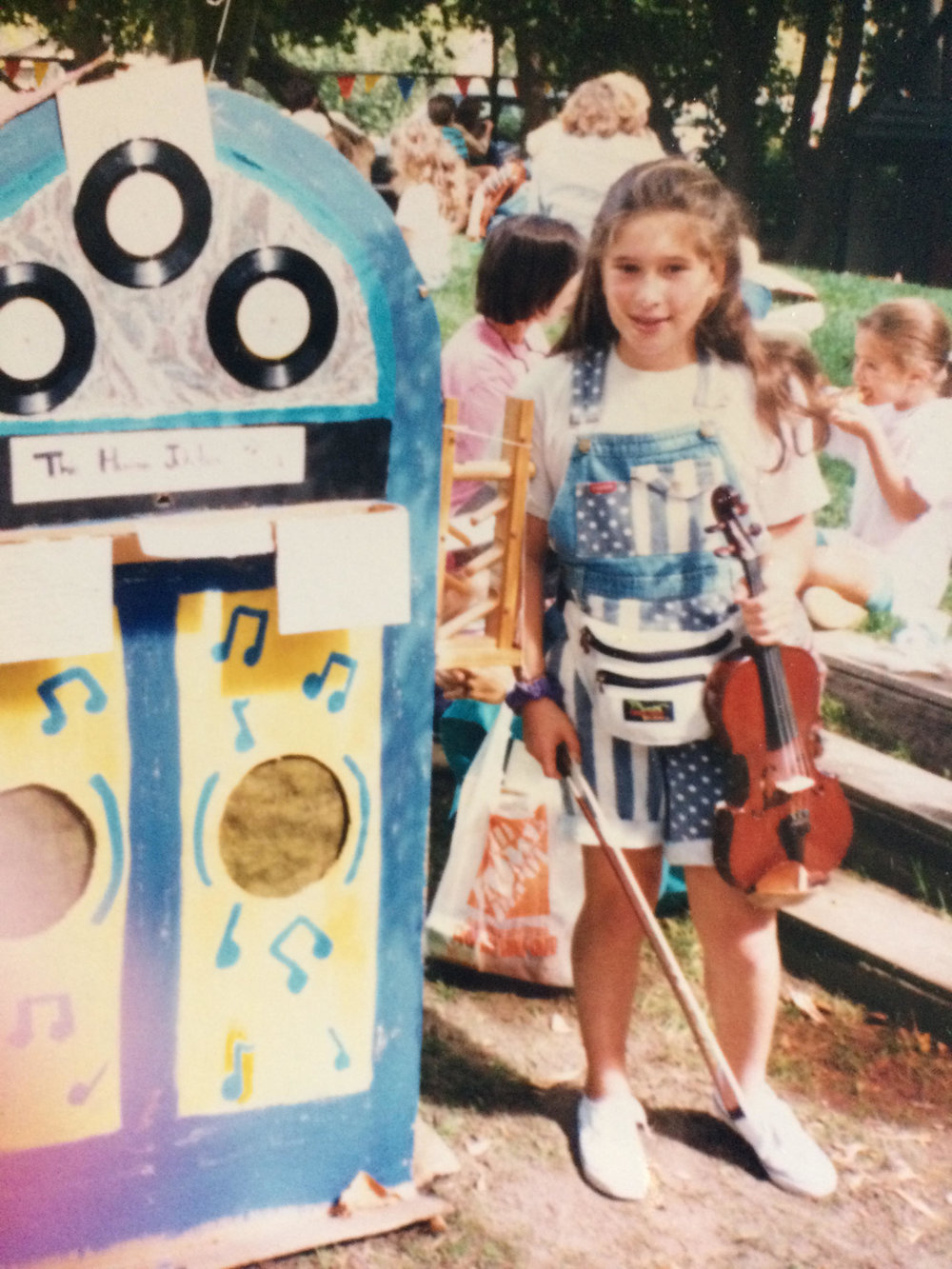 A young Toby! With my violin and my homemade human jukebox in my youth, in Palo Alto.