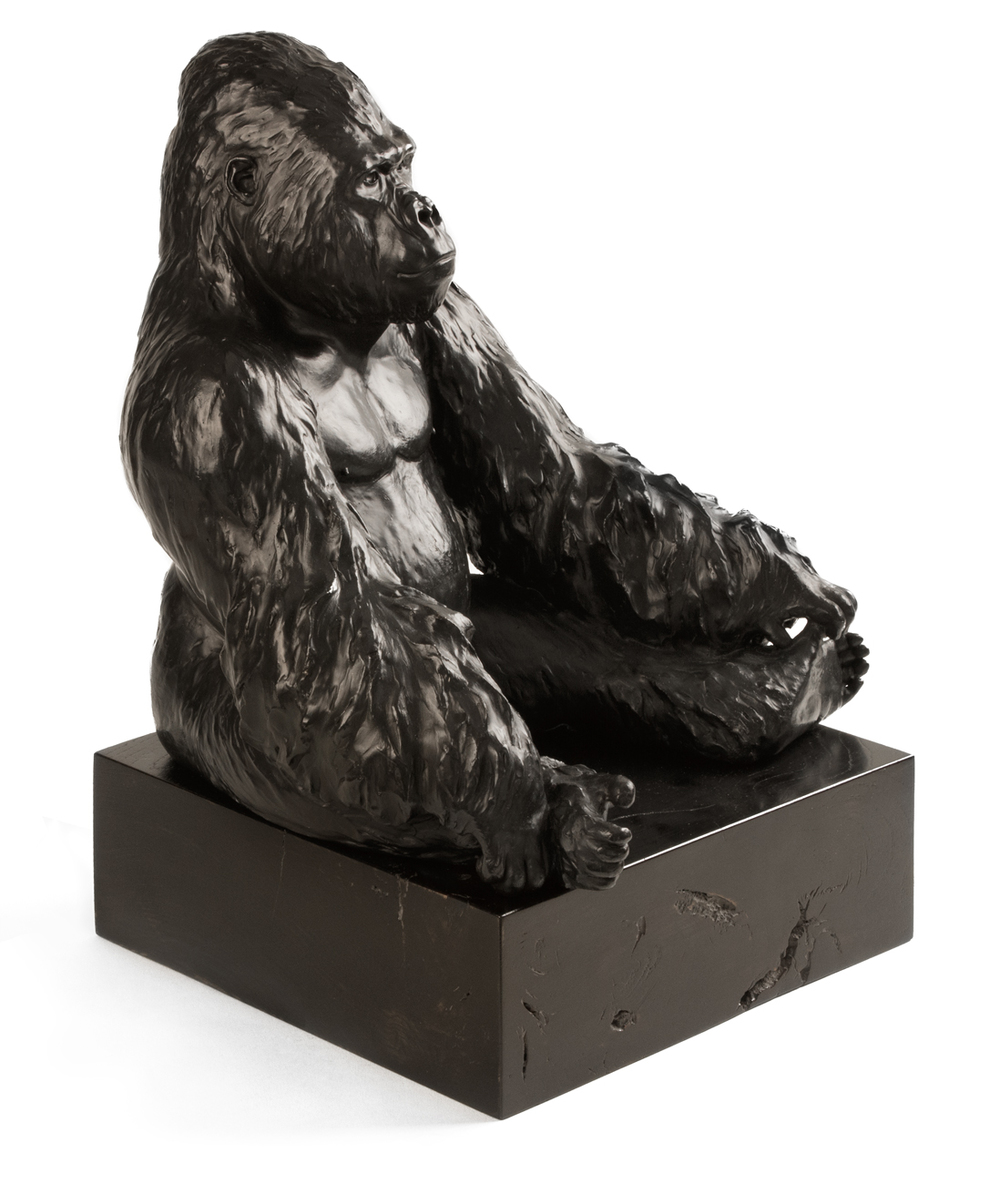 Western Lowland Gorilla I ( Gorilla gorilla gorilla ) / Bronze, Elm Base / Height (excl. base) 30 cm / 11.75 inches / Edition of 6 + 1 Artist's Cast