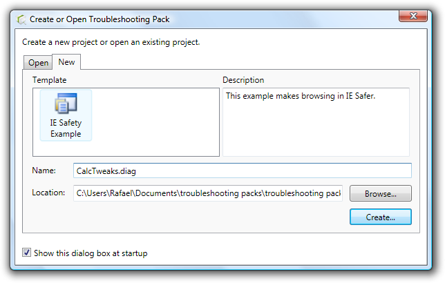 Create or Open Troubleshooting Pack window.