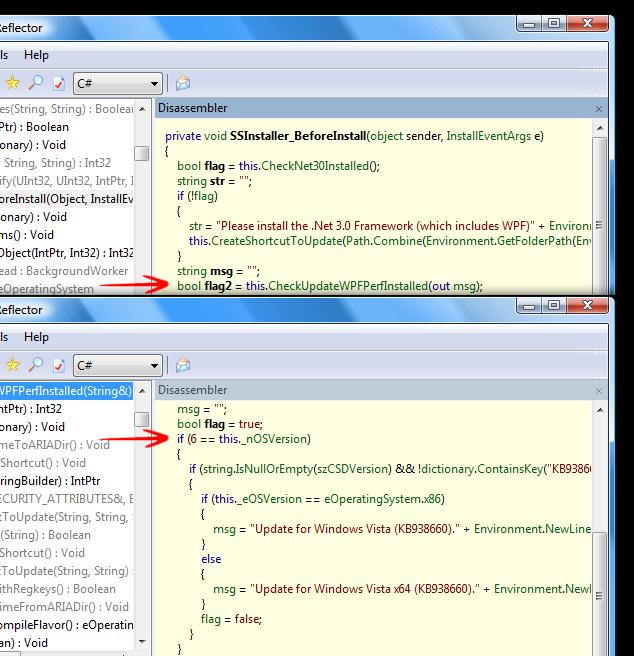 Reflector: Decompilation of SSCustomInstaller.dll