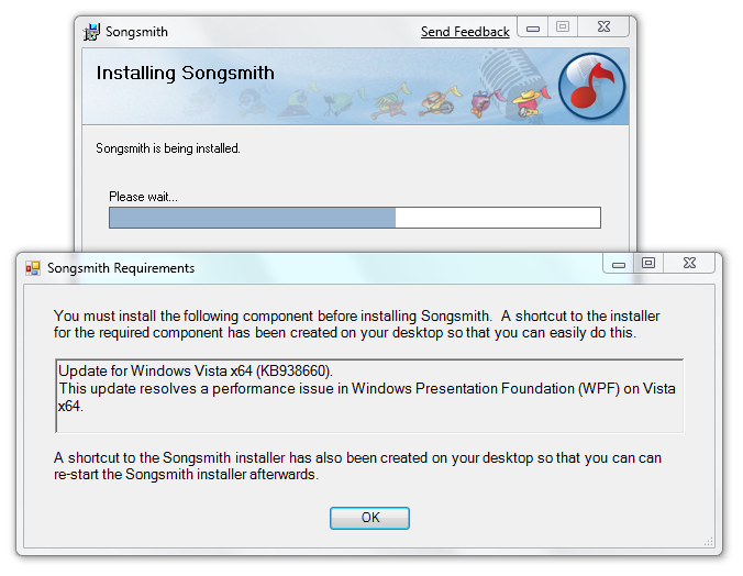 Songsmith requires KB938660 on Windows 7