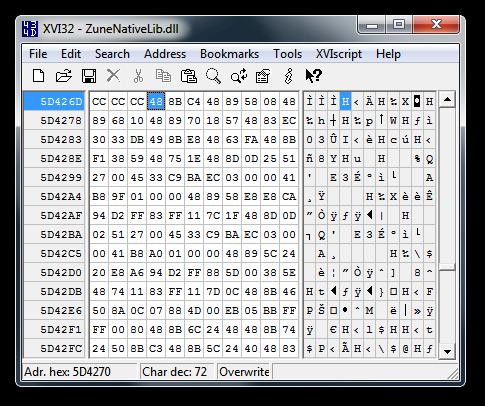 XVI32 Hex Editor w/ ZuneNativeLib.dll open