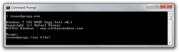 Windows 7 ISO AVDP Copy Tool (Command Prompt)