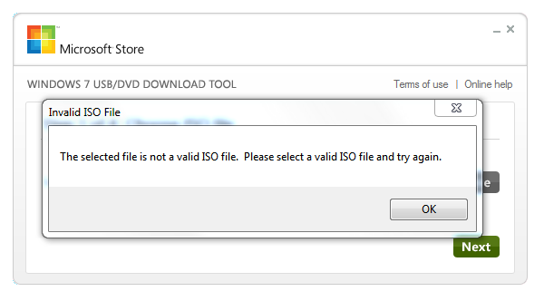 The selected file is not a valid ISO file. Please select a valid ISO file and try again.