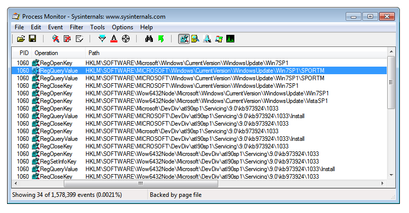 Process Monitor showing Windows 7 SP1 registry keys.