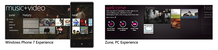 Comparable Microsoft Iris-based Experiences (Windows Phone 7, Zune PC)