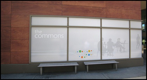 The Commons area, billboard