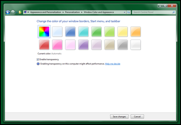 New to Windows 8: The ability to automatically color Aero based on the underlying wallpaper.
