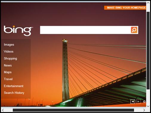Internet Explorer Immersive showing Bing homepage
