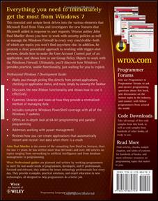 John Mueller's Professional Windows 7 Development Guide (Back Cover)