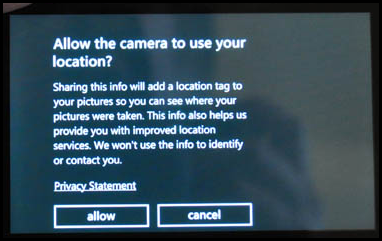 """Allow the camera to use your location?"" dialog on Windows Phone OS"