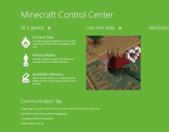 Minecraft Control Center concept
