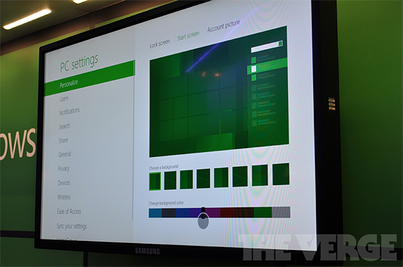 New personalization applet in Windows 8