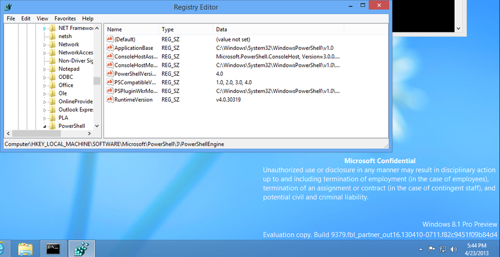A screenshot of PowerShell registry data in Windows 8.1 build 9379, courtesy of WinClub.pl