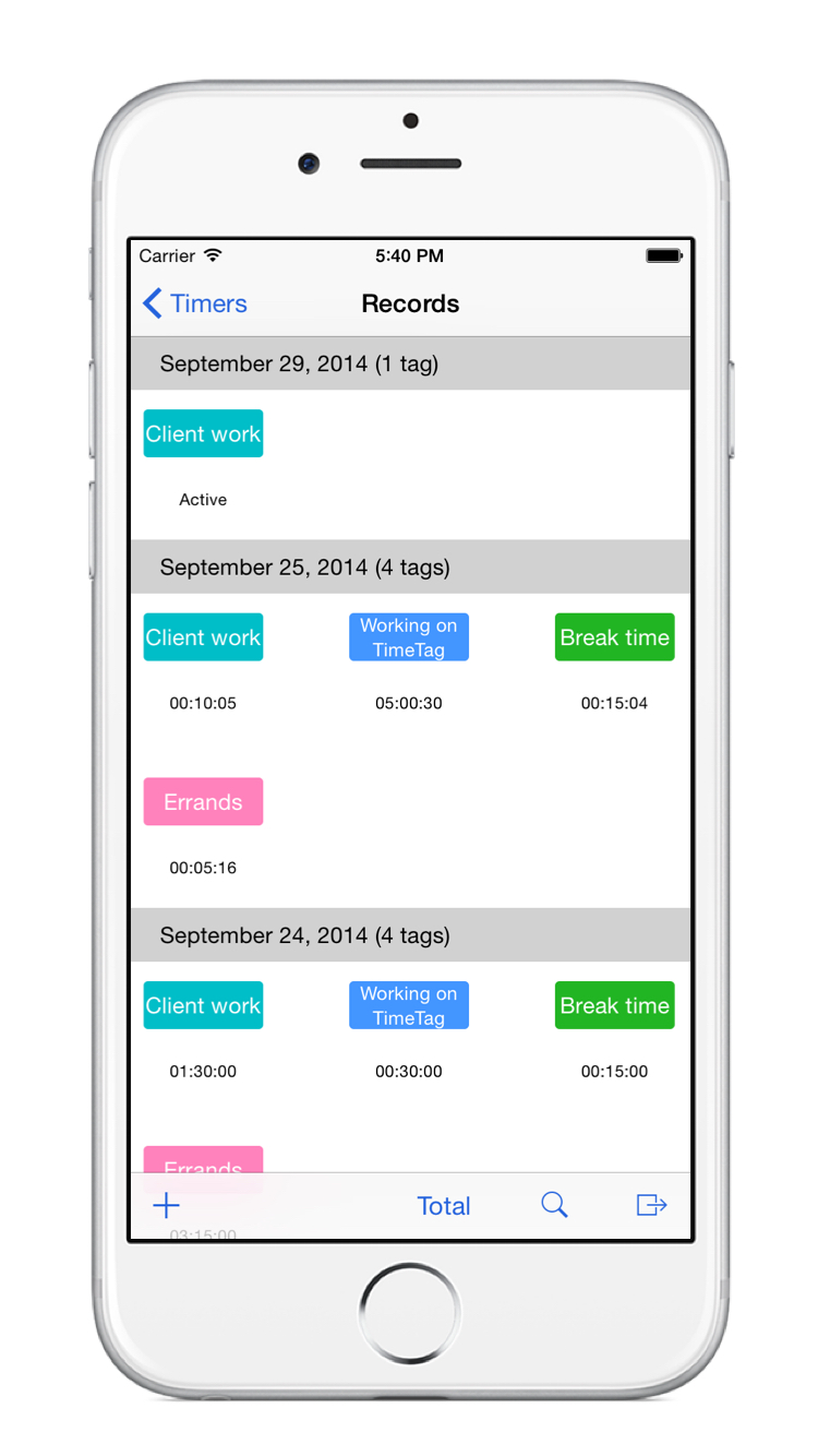 TimeTag record screen on the iPhone 6
