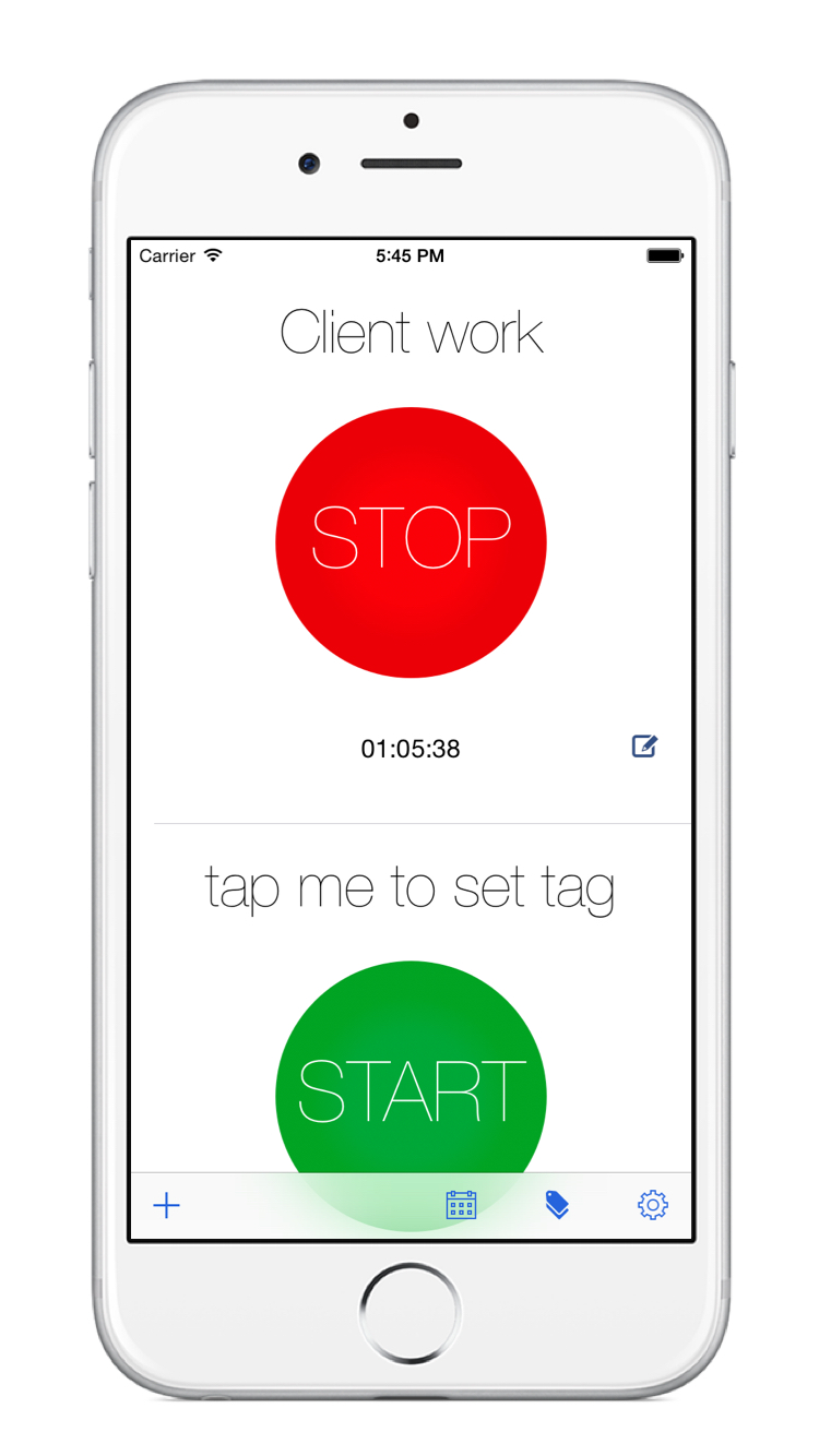 TimeTag timer screen on the iPhone 6