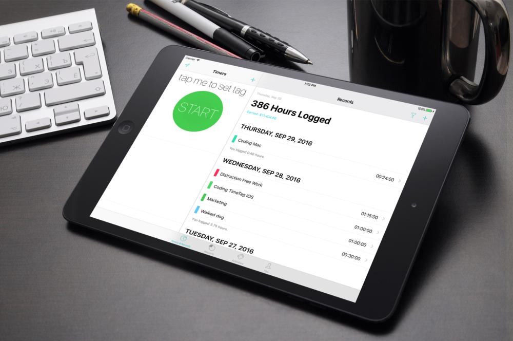 TimeTag 7 on iPad Mini near keyboard.png