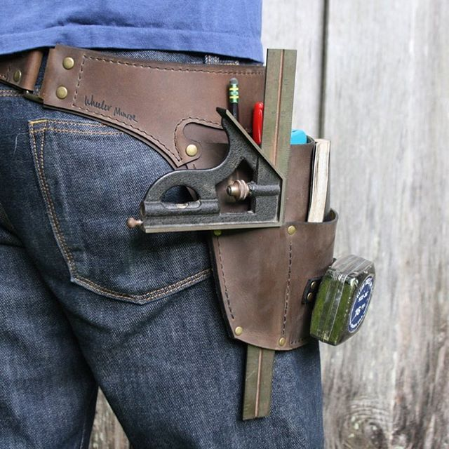 "I am pleased to introduce the Shop Belt, designed specifically for use in a wood shop. The pockets are tailored for holding the basics- a couple of pencils, a 6"" rule, a note pad, maybe a box knife, a measuring tape, and there's a special pass-through pocket for holding a combination square or calipers. This new design has been waiting patiently in the wings for some time now. It's a stripped-down adaptation of our Basic Tool Belt. Some of you may not know this, but I spent two years studying fine woodworking @thekrenovschool . While a student there, I made my very first tool belt because I could not keep up with a dAng pencil to save my life! That first belt was pretty crude by comparison, but this new design, the Shop Belt, is definitely the thing that I wish I'd had. Check it out! Link in profile.  #woodworker #finewoodworking #wheelermunroe #toolbelt"