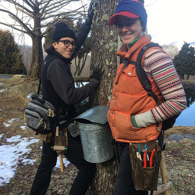 We have officially kicked off our maple syrup season here at Waterfall Farm!  We tapped our trees last Saturday, February 2nd, with the excellent help of my wacky husband @waldeck.michael , our friend @nina12757 , and also my dad, with whom we share this sugar endeavor. Before heading off into the woods, we decided to have a photo shoot to exhibit some of our leather goods. As you can see, Michael really comes alive for the camera.  #northcarolinamaplesyrup #waterfallfarmnc #southernsyrup