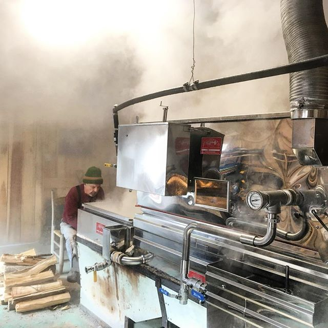 We're making lots of steam in the sugar house today. Our wood fired evaporator reminds me of a locomotive. Destination: Maple Syrup. #northcarolinamaplesyrup #maplesyrup #waterfallfarmnc