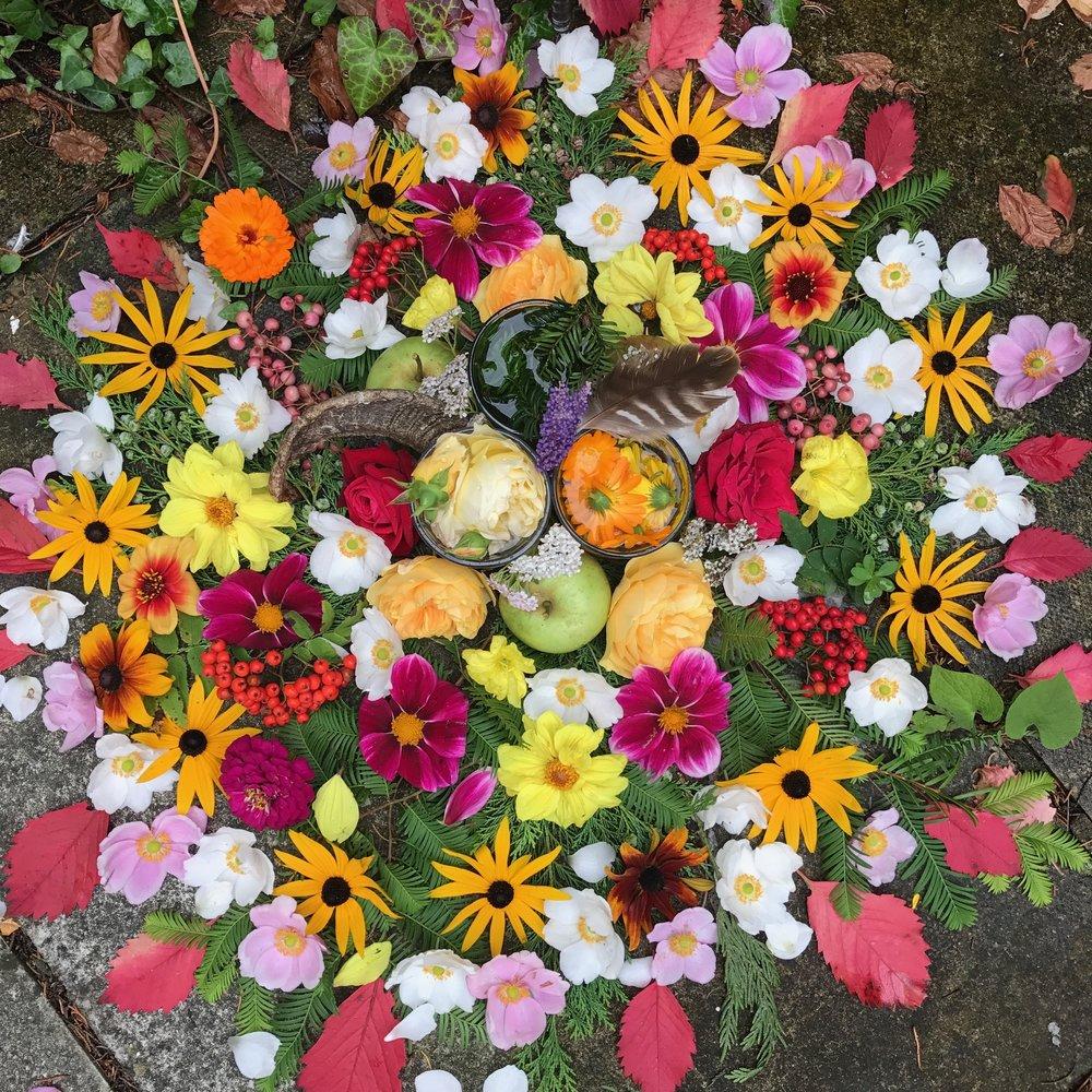 Avalon Harvest Moon Altar co-created by Sunshine & Achintya