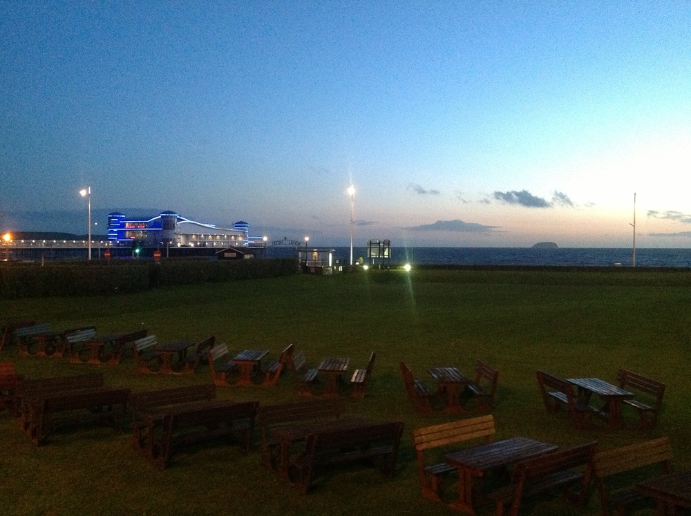 Looking out toward the Bristol Channel during twilight at Weston Super Mare - site of the Bristol Day of Magic